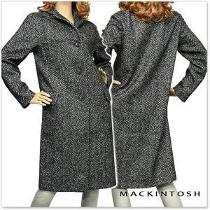 MACKINTOSH マッキントッシュ レディースウールロングチェスターコート 4590 3M LM 009F ブラックヘリンボーン|tre-style