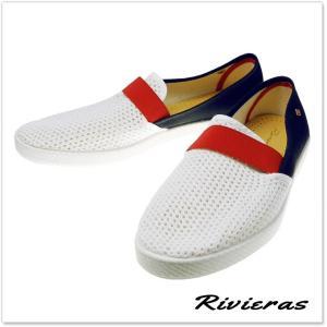 RIVIERAS リビエラ キャンバス&メッシュスリッポン PAVILLON 20°/ 9281 ホワイト×ブラック tre-style