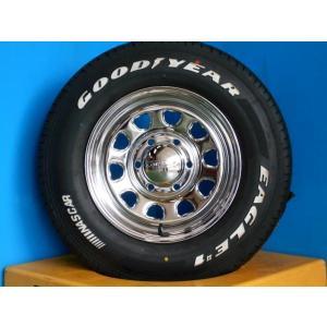 ◆200系ハイエースに◆新品ホワイトレタータイヤ付◆デイトナ15インチ + グッドイヤーナスカー 195/80R15インチ 4本セット NASCAR《246》|tread-tire2011