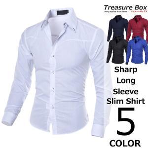 ドレスシャツ メンズ 長袖 スリム シャープ  スタンドカラーにオトナの色気感じさせるラインがかっこ...