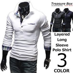 ゴルフウェア メンズ ポロシャツ 長袖 重ね着  重ね着風フェイクレイヤードにチェックがかっこいいP...