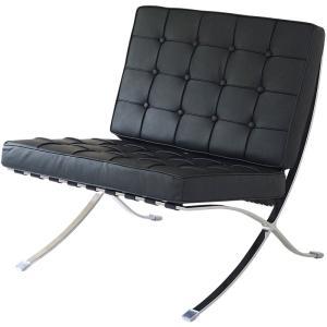 バルセロナチェア ミースファンデルローエ 総本革イタリアンレザー仕様 ブラック 黒 BARCELONA Chair 北欧家具 デザイナーズ リプロダクト|treasure-com