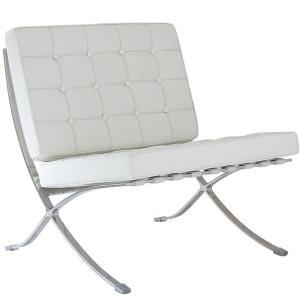 バルセロナチェア ミースファンデルローエ 総本革イタリアンレザー仕様 ホワイト 白 BARCELONA Chair 北欧家具 デザイナーズ リプロダクト|treasure-com