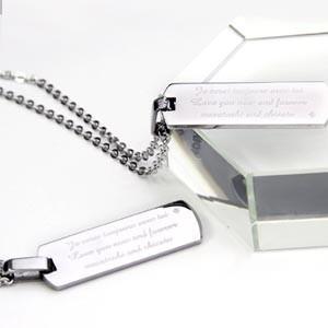 {名入れ ペア ペンダント プレゼント カップル}ステンレス ペアネックレス/ 2人のメッセージ 彫刻 刻印 (PN-002)|treasure-gift