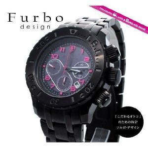 フルボデザイン 腕時計 防水 Furbo Design ウォッチ Furbo IL SOLE イルソーレ FS301BBKRD 黒 マット ブラック ソーラークロノグラフ メンズ|treasureland