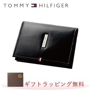 トミーヒルフィガー カードケース TOMMYHILFIGER 名刺入れ メンズ 男性 31TL20X020-001 0096-5170 01 ブラック レザー 革|treasureland