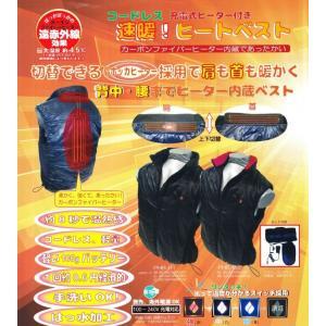 カーボンファイバーヒーター付き 充電式ヒーターベスト バッテリー2個付 襟黒 Lサイズ ヒートベスト|treasuretown