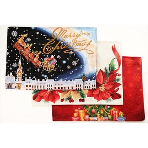 送料無料 クリスマス 布製 ランチョンマット 3枚セット ツリー ポインセチア サンタクロース 裏地...
