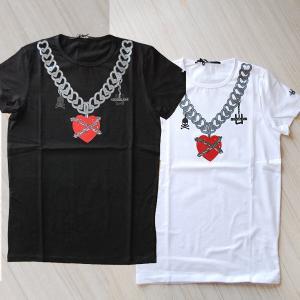USUALIS ウザリス メンズ 半袖Tシャツ 5518 チェーンハート 袖 ラバー 2017SS 春夏新作|trend-exzakka