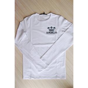 USUALIS メンズ ロングTシャツ U3372 ホワイト 王冠 長袖 スワロ|trend-exzakka