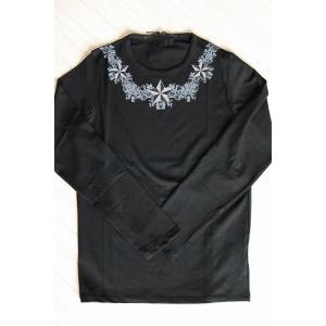 USUALIS メンズ ロングTシャツ U3836 ブラック スター 2015AW|trend-exzakka