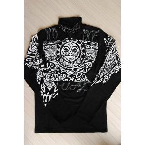 USUALIS メンズ ロングTシャツ U4009 ブラック アステカ風|trend-exzakka