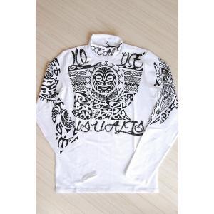 USUALIS メンズ ロングTシャツ U4009 ホワイト アステカ風|trend-exzakka