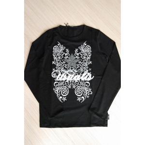 USUALIS メンズ ロングTシャツ U4130 ブラック ラインストーン|trend-exzakka