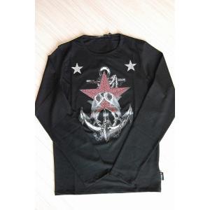 USUALIS メンズ ロングTシャツ U4131 ブラック スター 2015AW|trend-exzakka