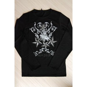 USUALIS メンズ ロングTシャツ U4134 ブラック スター 2015AW|trend-exzakka
