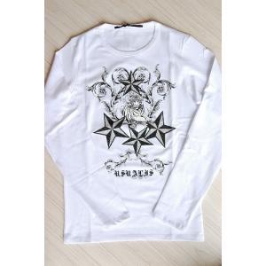 USUALIS メンズ ロングTシャツ U4134 ホワイト スター 2015AW|trend-exzakka