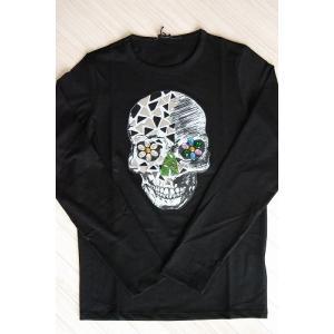 USUALIS メンズ ロングTシャツ U4183 ブラック スカル 2015AW|trend-exzakka