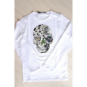 USUALIS メンズ ロングTシャツ U4183 ホワイト スカル 2015AW|trend-exzakka