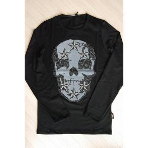 USUALIS メンズ ロングTシャツ U4243 ブラック スカル 2015AW|trend-exzakka