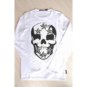 USUALIS メンズ ロングTシャツ U4243 ホワイト スカル 2015AW|trend-exzakka