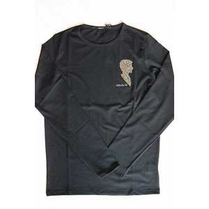送料無料【USUALIS/ウザリス】長袖Tシャツ  ブラック U4264|trend-exzakka