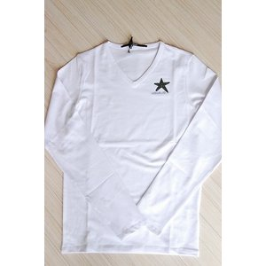 USUALIS メンズ ロングTシャツ U4316 ホワイト 星 長袖 スワロ|trend-exzakka