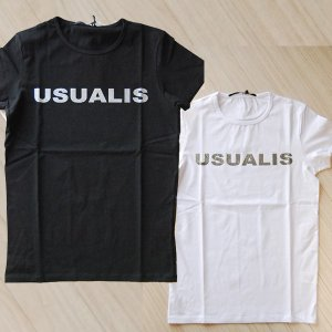 USUALIS ウザリス メンズ 半袖Tシャツ 5688 ロゴ スパンコール 2017SS 春夏新作|trend-exzakka