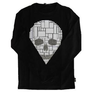 USUALIS ウザリス メンズ ロングTシャツ 5917 ブロックスカル(ロゴ)スパンコール 2017AW|trend-exzakka