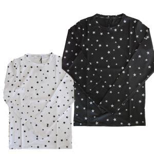 USUALIS ウザリス メンズ ロングTシャツ 6200 全面スター ロゴネック 左袖スワロフスキー 2017AW|trend-exzakka
