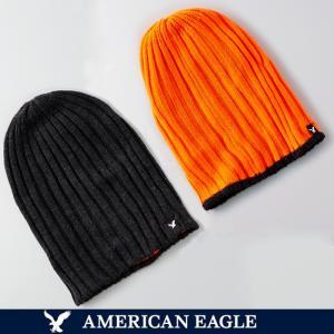メール便 送料無料 アメリカンイーグル メンズ ニットキャップ ニット帽 帽子 リバーシブル  ビーニー オレンジ ブラック|trend-i