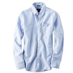 メール便 送料無料 アメリカンイーグル/メンズ/長袖/ボタンシャツ/BLUE オックスフォード シャツ 青 BIGSIZE|trend-i