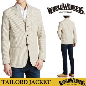WORLD WOKERS メンズ テーラードジャケット ストライプ 日本製 S M L サイズ ベイジュ ホワイト|trend-i