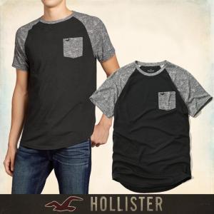メール便 送料無料 ホリスター メンズ Tシャツ 半袖 ブラック グレー 無地 胸ポケット ワンポイントロゴ S Mサイズ Must-have Contrast Detail Tee 直営店仕入|trend-i
