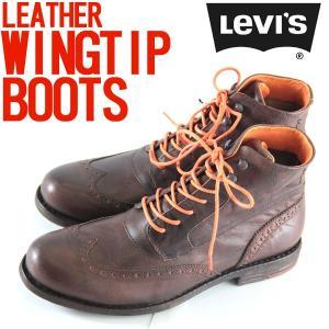 リーバイス メンズ ブーツ ウイングチップ カントリー ワーク アウトドア ブラウン 26.0 26.5 cm trend-i