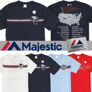 メール便 送料無料 Majestic/マジェスティック メンズ/Tシャツ/半袖/野球/メジャーリーグ/正規品/M L サイズ ネイビー スカイ ホワイト レッド|trend-i