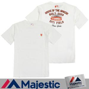 メール便 送料無料 Majestic/マジェスティック メンズ/Tシャツ/半袖/野球/メジャーリーグ/バックプリント/M  L サイズ ホワイト|trend-i
