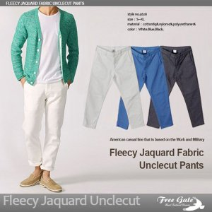 メンズ パンツ クロップドパンツ アンクルパンツ 32 34 インチ ホワイト ブルー ブラック 裏毛風ジャガード素材|trend-i