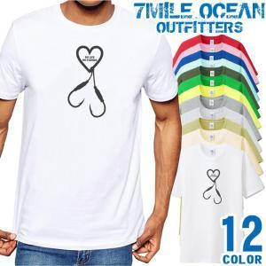 7MILE OCEAN Tシャツ メンズ 半袖 アメカジ 釣り フィッシング ハート 大き目 大きいサイズ ビックサイズ 12色|trend-i