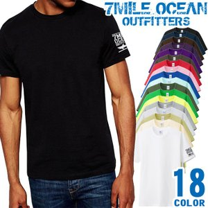 7MILE OCEAN Tシャツ メンズ 半袖 アメカジ 無地 ワンポイント サメ シャーク ロゴ 大き目 大きいサイズ ビックサイズ 18色|trend-i