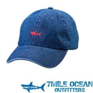 7MILE OCEAN メンズ キャップ 帽子 CAP ワンポイント ロゴ 刺繍 人気 ブランド アメカジ アウトドア ストリート ダークデニム ジーンズ ブルー|trend-i