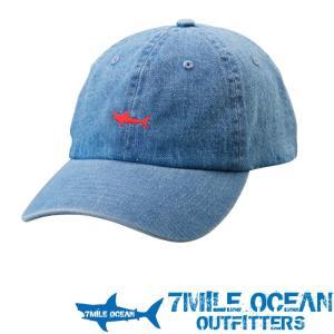 7MILE OCEAN メンズ キャップ 帽子 CAP ワンポイント ロゴ 刺繍 人気 ブランド アメカジ アウトドア ストリート ライトデニム ジーンズ ブルー|trend-i