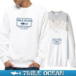 7MILE OCEAN セール価格 メンズ 長袖 トレーナー スウェット プリント 人気ブランド アメカジ アウトドア サメ シャーク 鮫 裏起毛 大きいサイズ 秋冬|trend-i