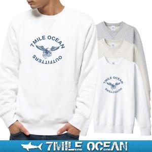 7MILE OCEAN セール価格 メンズ 長袖 トレーナー スウェット プリント 人気ブランド アメカジ アウトドア カレッジ おしゃれ  裏起毛 大きいサイズ 秋冬|trend-i