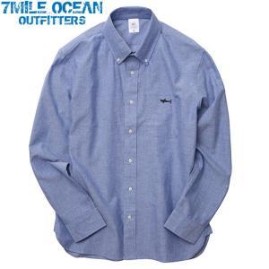 7MILE OCEAN メンズ 長袖 シャツ オックスフォードシャツ ボタンダウン ワンポイント ロゴ 刺繍 人気 ブランド アメカジ アウトドア ストリート 青 ブルー|trend-i