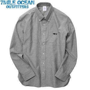 7MILE OCEAN メンズ 長袖 シャツ オックスフォードシャツ ボタンダウン ワンポイント ロゴ 刺繍 人気 ブランド アメカジ アウトドア ストリート グレー|trend-i