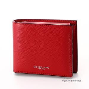 マイケルコース MICHAEL KORS メンズ財布 小銭入れ付き二つ折り財布 39F5LHRF3L/604 CRIMSON|trend-watch
