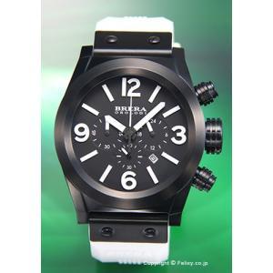ブレラオロロジ 腕時計 メンズ BRERA OROLOGI Eterno Chrono (エテルノ クロノ) オールブラック×ホワイト/ホワイトラバー BRETC4567 trend-watch