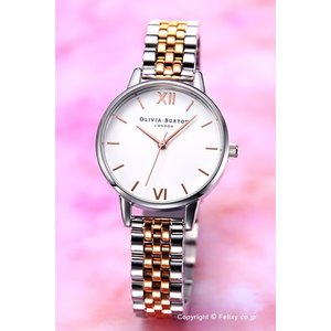 オリビアバートン OLIVIA BURTON 腕時計 WHITE DIAL MID ROSE GOLD & SILVER BRACELET OB16MDW25|trend-watch