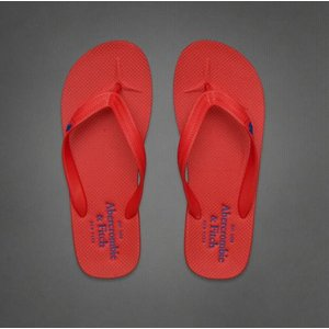 【即納】 アバクロ メンズ ビーチサンダル Abercrombie&Fitch Bold Color Flip Flops Red And Blue (レッド) 本物 【条件付き送料無料】|trendcruising